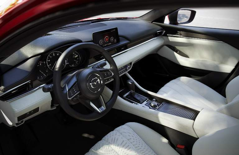 2018 Mazda6 Steering Wheel, Touchscreen and White Front Seats