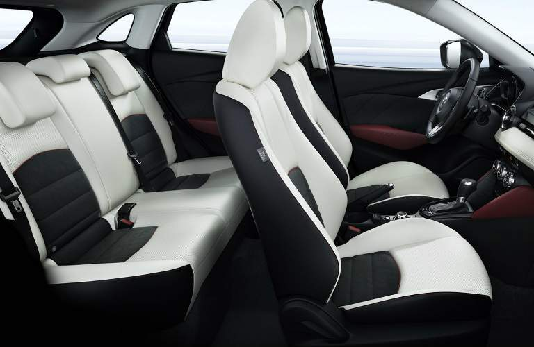 Interior of 2018 Mazda CX-3 with White and Black Seats