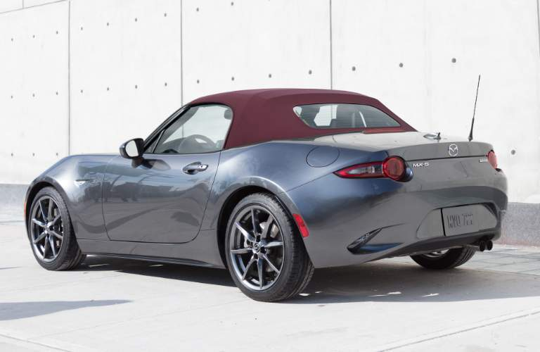 Grey 2018 Mazda MX-5 Miata Soft Top with Dark Cherry Roof
