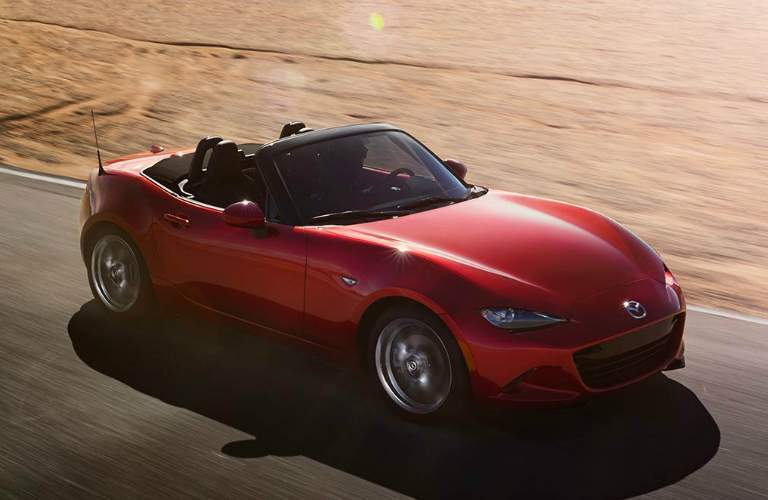 Overhead View of Red 2018 Mazda MX-5 Miata Soft Top