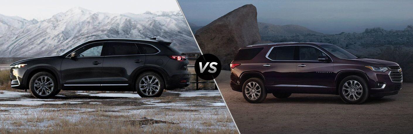 Black 2019 Mazda CX-9, VS Icon, and Maroon 2019 Chevrolet Traverse