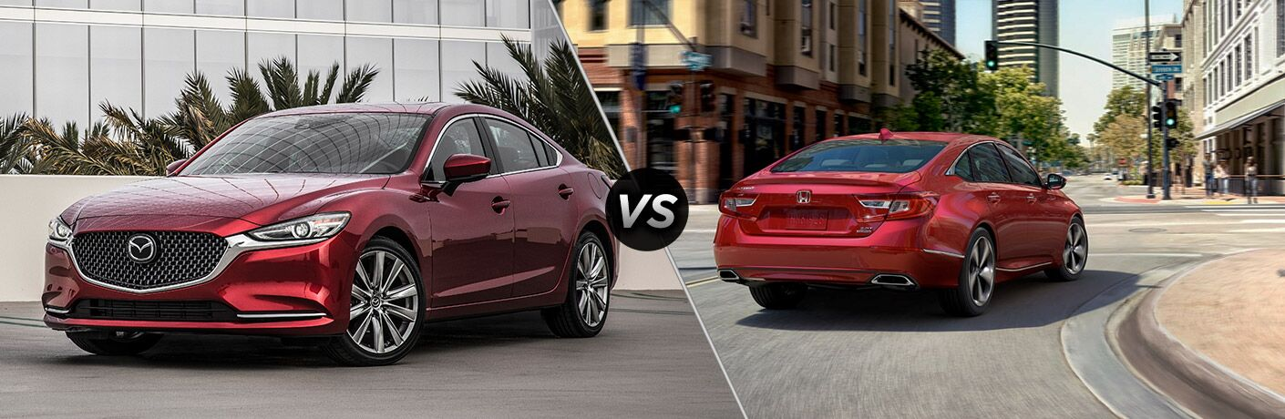 Red 2019 Mazda6, VS icon, and red 2019 Honda Accord