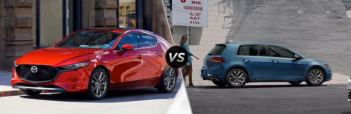 Red 2019 Mazda3 Hatchback, VS icon, and blue 2019 Volkswagen Golf