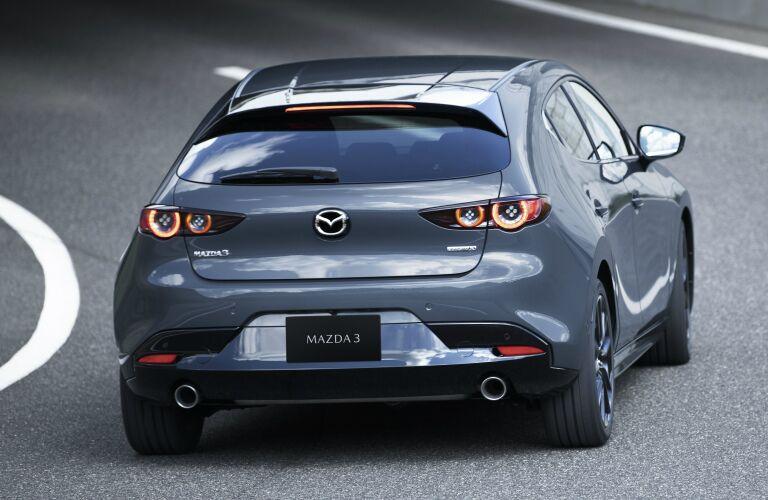 Rear view of grey 2019 Mazda3 Hatchback