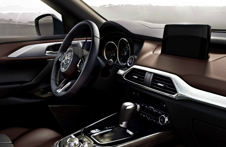 Dashboard and Reddish-Brown Driver's Seat in 2019 Mazda CX-9