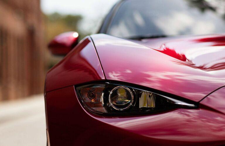 Headlight of Red 2019 Mazda MX-5 Miata RF