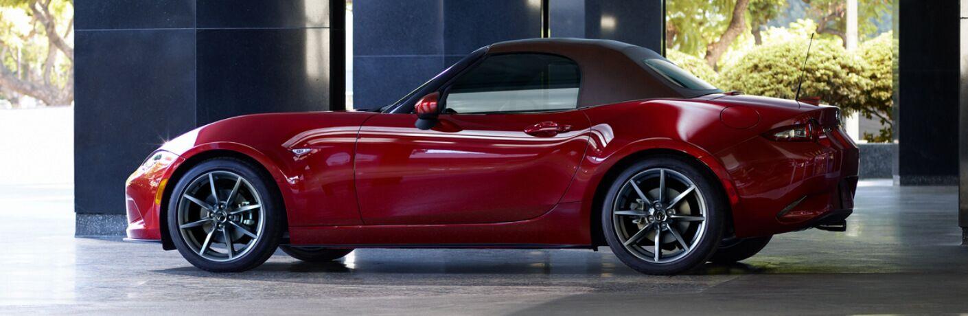 Side View of Red 2019 Mazda MX-5 Miata Soft Top