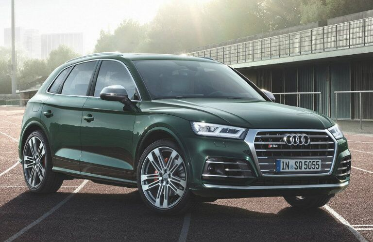 dark green Audi SQ5 parked on track