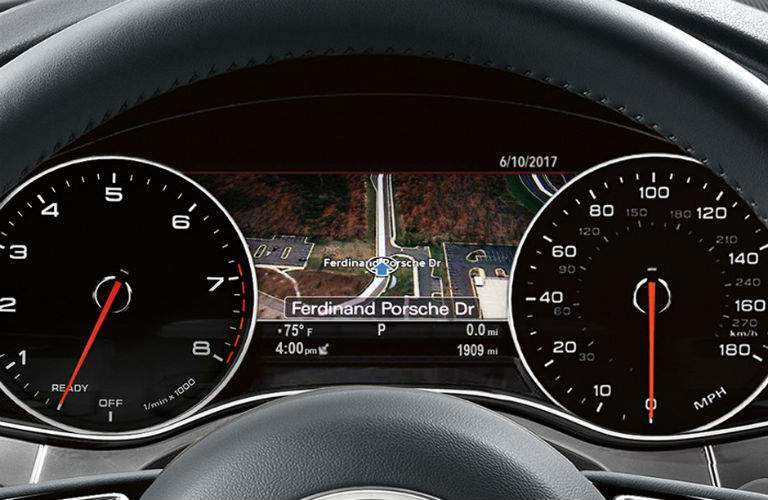 2018 audi a6 interior with google earth navigation screen shown between speedometer and tachometer