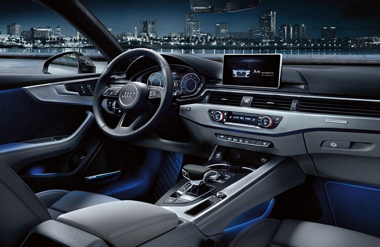 2019 Audi A5 Sportback dashboard features and steering wheel