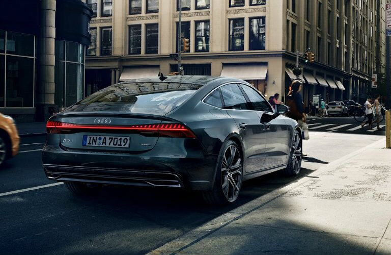 rear view of Audi A7 parked on side of road