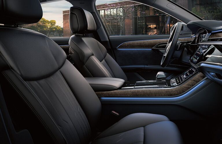 2019 Audi A8 interior side shot of front seating upholstery and design
