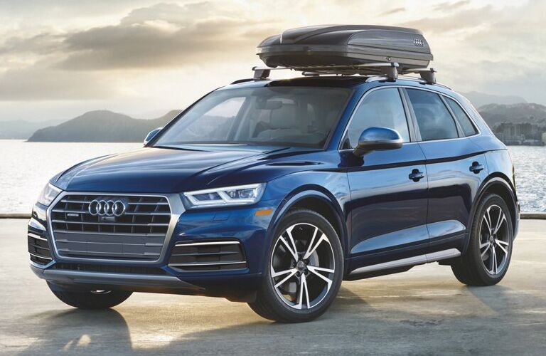 Blue 2019 Audi Q5 parked on waterfront