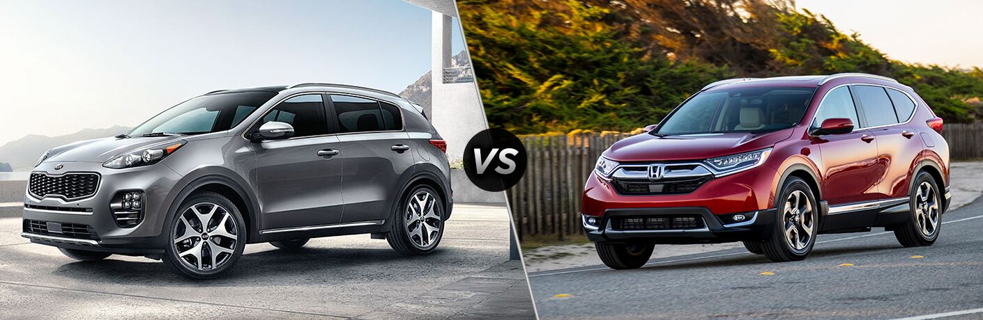 Gray 2019 Kia Sportage set against a red 2018 Honda CR-V