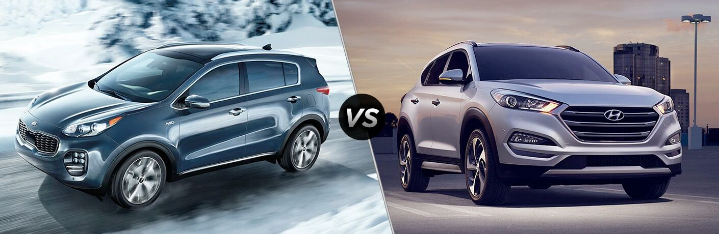 Blue 2019 Kia Sportage set against a silver 2019 Hyundai Tucson