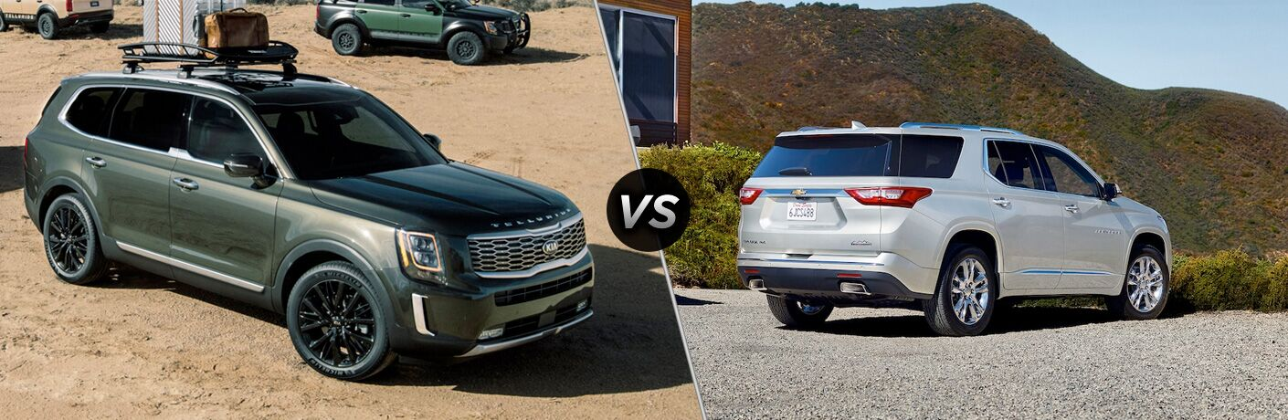 2020 Kia Telluride exterior front fascia and passenger side next to fence vs 2019 Chevy Traverse exterior back fascia and passenger side in front of building with bushes