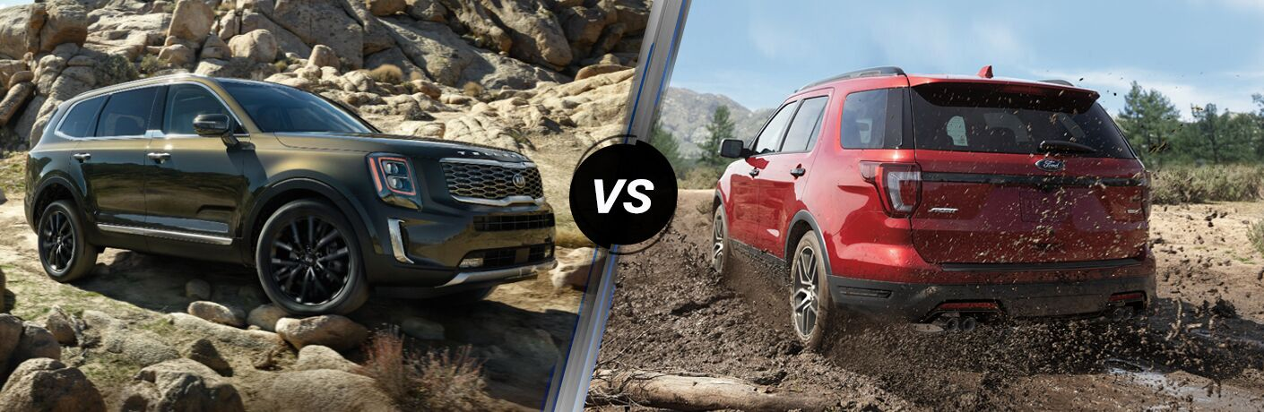 2020 Kia Telluride exterior front fascia and passenger side on rocky road vs 2019 Ford Explorer exterior back fascia and driver side on off-road trail with pine trees ahead