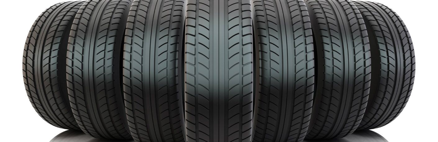 Line of seven tires