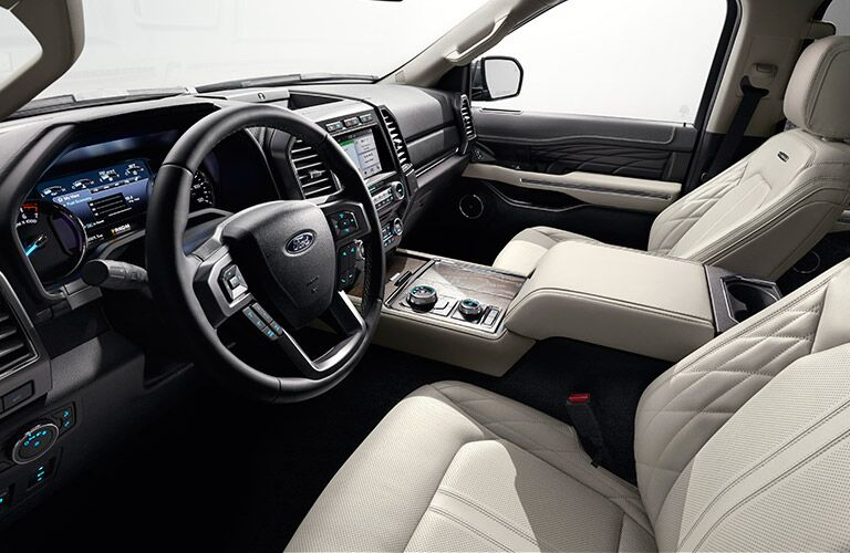 2018 Ford Expedition interior tan leather front seats and dash