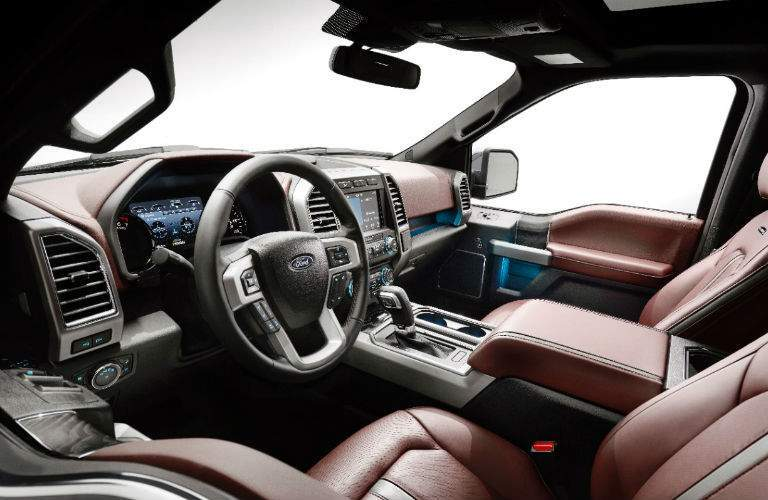 2018 Ford F-150 interior view with brown leather