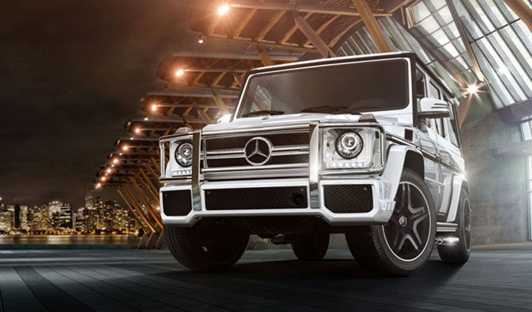 white 2018 Mercedes-Benz G-Class, city background