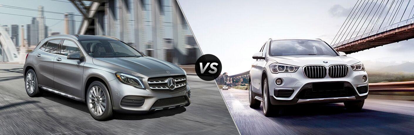 2018 Mercedes-Benz GLA vs 2018 BMW X1 in white