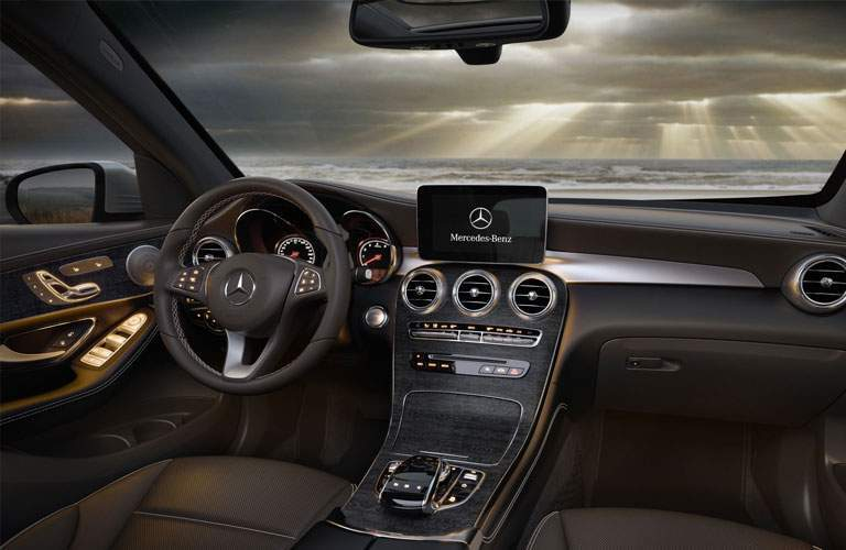 front dashboard of the 2018 Mercedes-Benz GLC in dark wood