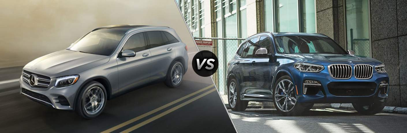side by side images of the 2018 Mercedes-Benz GLC and 2018 BMW X3 compact crossovers