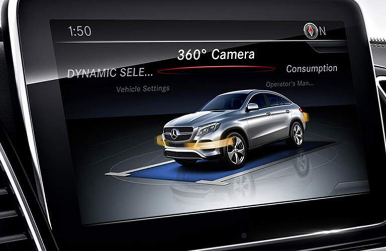 View of the 2018 Mercedes-Benz GLE Class' rearview camera's screen