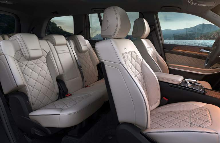 2018 Mercedes-Benz GLS interior seating with tan quilted upholstery