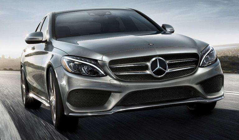 silver 2018 Mercedes-Benz C-Class, close view on the road