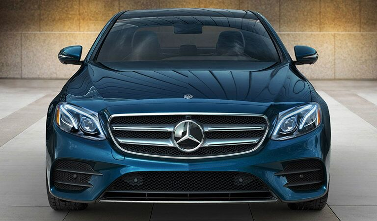 blue 2018 Mercedes-Benz E-Class seen from the front, close grille view
