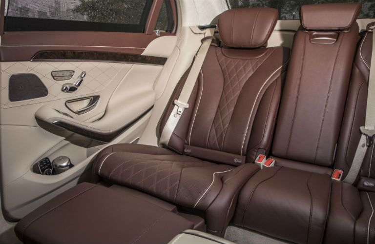 2018 Mercedes-Benz S-Class interior shot of backseat brown leather upholstery