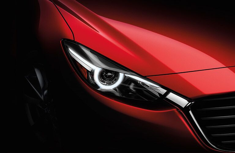red 2018 Mazda3 4-Door headlight