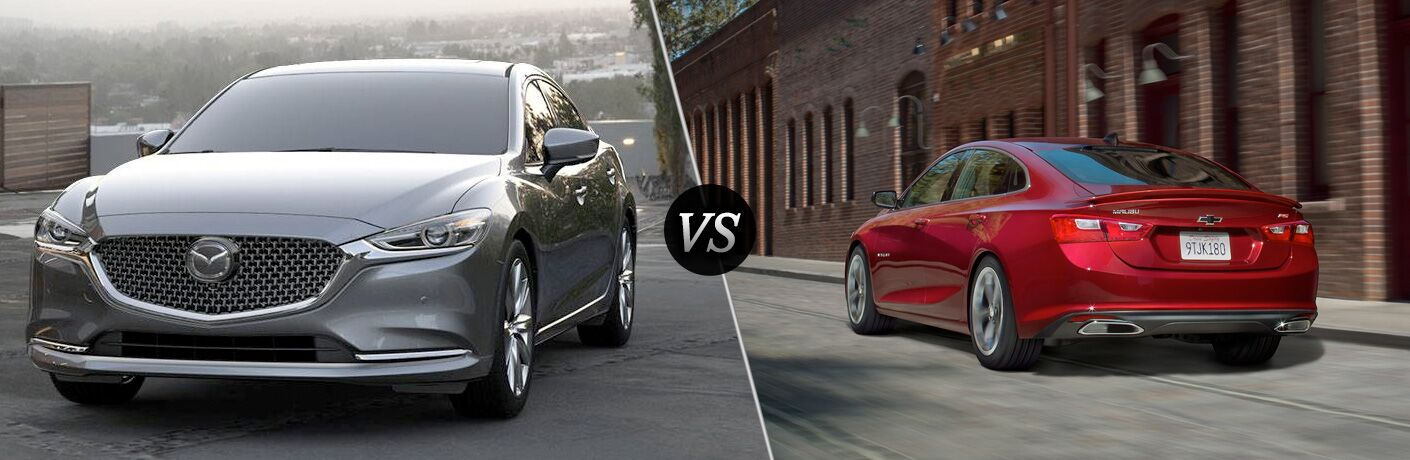 silver mazda6 vs red chevrolet malibu