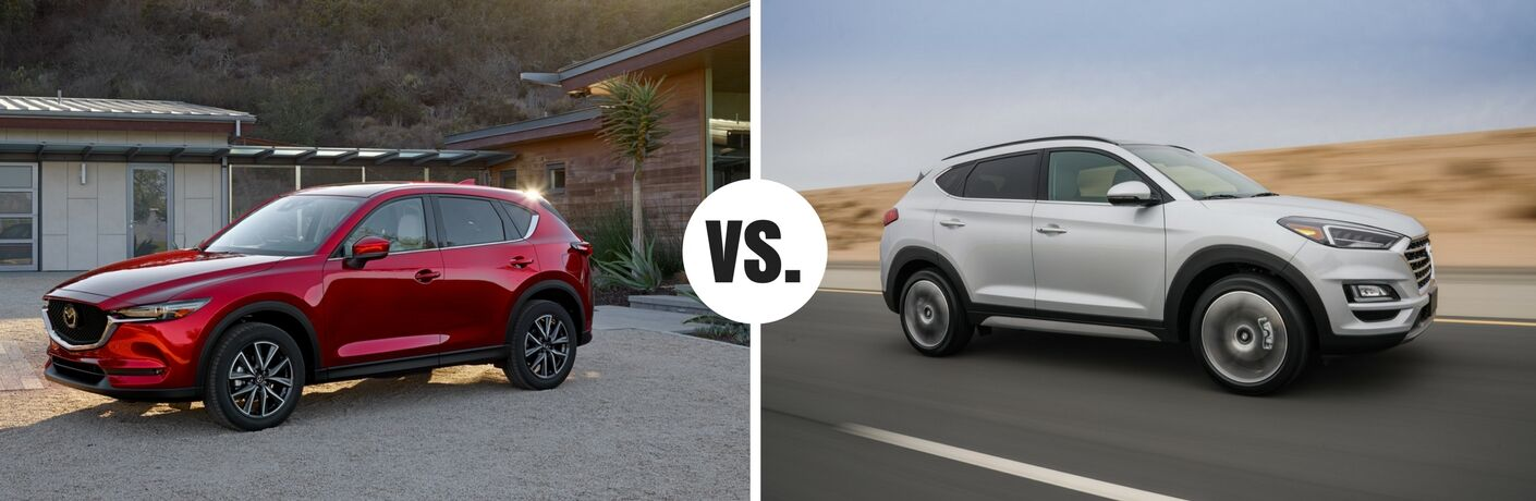 red mazda cx-5 compared to white hyundai tucson