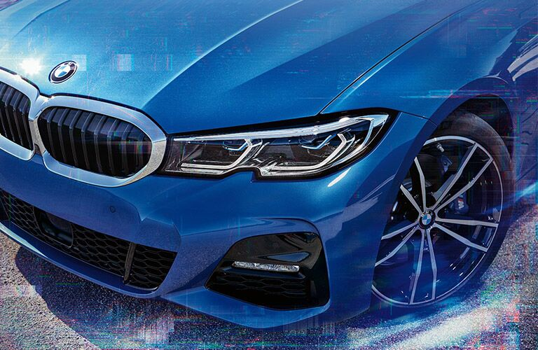 Close Up of 2019 BMW 3 Series Grille and Headlights