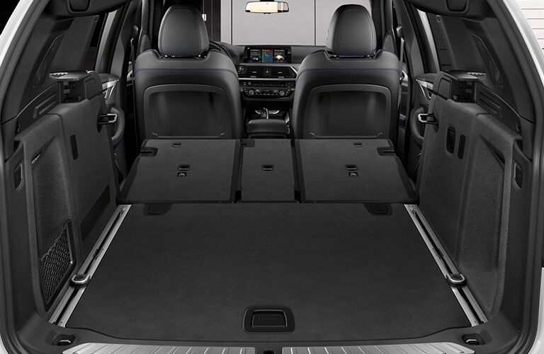 Seats of 2019 BMW X3 folded down to reveal cargo area