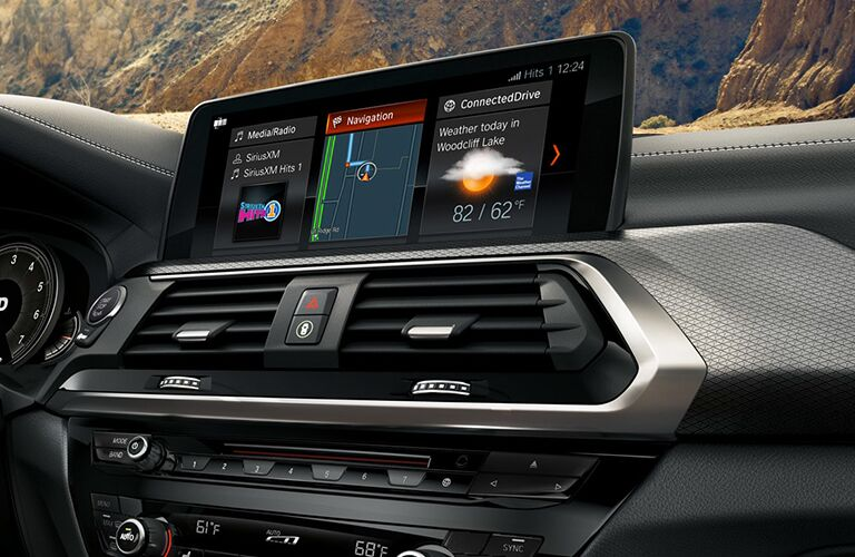 Center touchscreen and air vents of 2019 BMW X3
