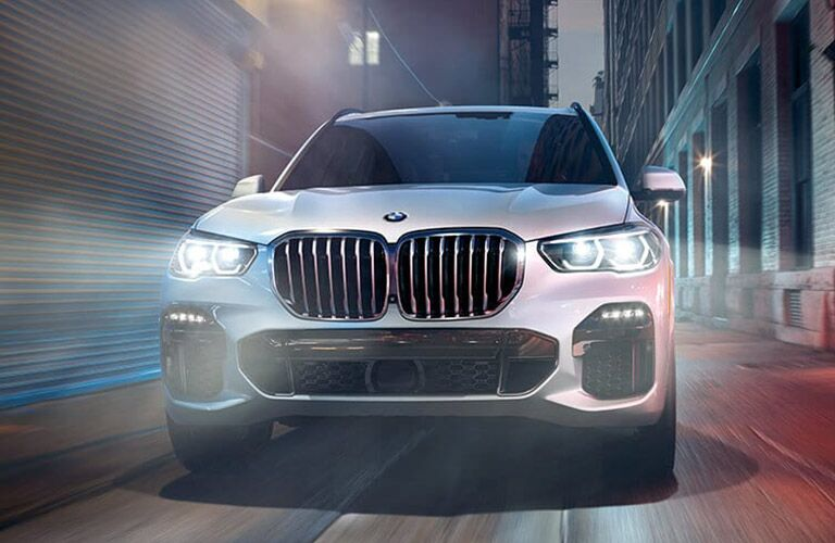 silver 2019 BMW X5 in city front view