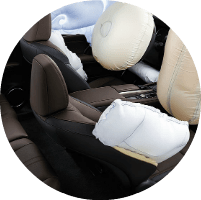 airbags deployed in a Lexus cabin