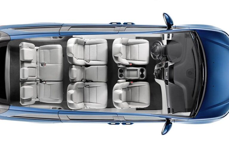 View of the 2016 Honda Odyssey minivan seating options from above