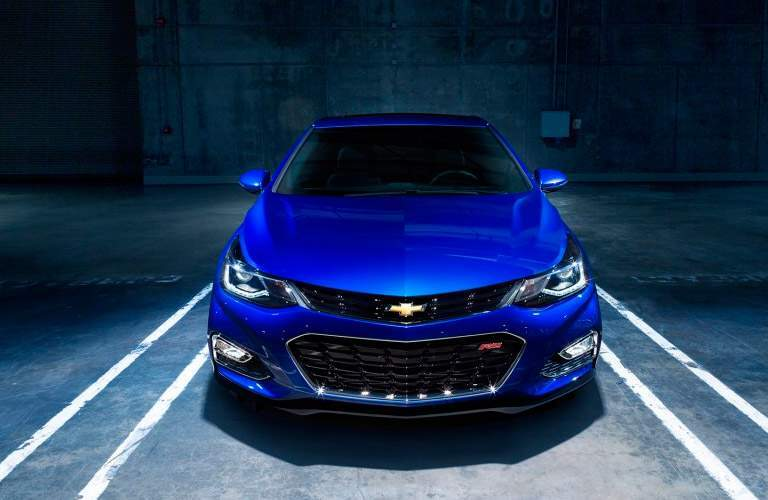 blue Chevy Cruze front view