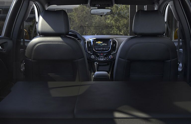 Rear seats folded flat in the 2017 Chevy Cruze hatchback