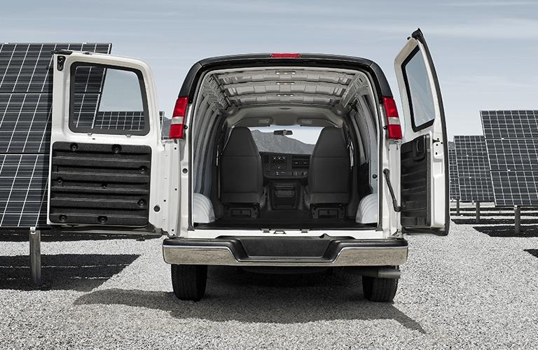 2020 GMC Savana Cargo Van with Doors open