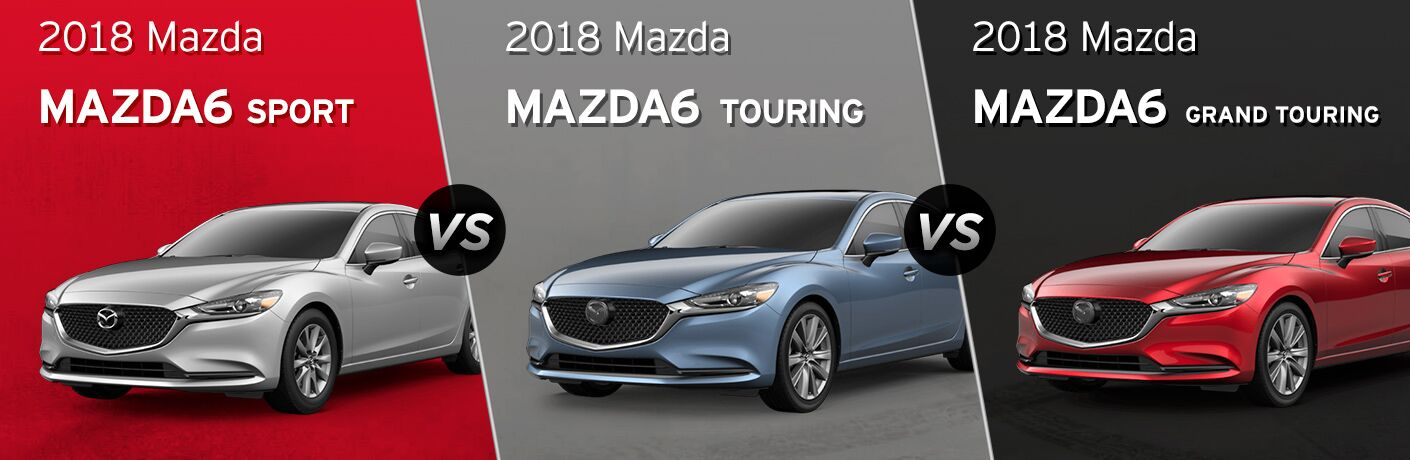 Silver 2018 Mazda6 Sport on Red Background with White Model Name Text vs Blue 2018 Mazda6 Touring on Gray Background with White Model Name Text vs Red 2018 Mazda6 Grand Touring on Black Background with White Model Name Text