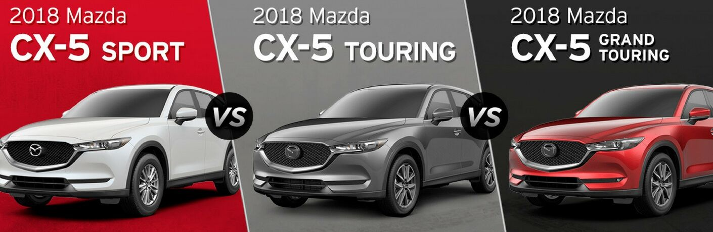 White 2018 Mazda CX-5 Sport on Red Background vs Gray 2018 Mazda CX-5 Touring on Gray Background vs Red 2018 Mazda CX-5 Grand Touring on Black Background