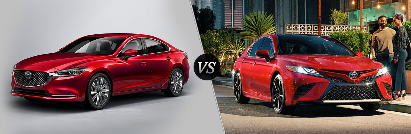 Red 2018 Mazda6 on a Gray Background vs Red 2018 Toyota Camry on a City Street