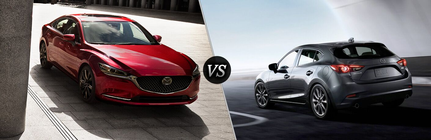 Red 2018 Mazda6 on a City Street vs Gray 2018 Mazda3 Hatchback Rear on a Freeway
