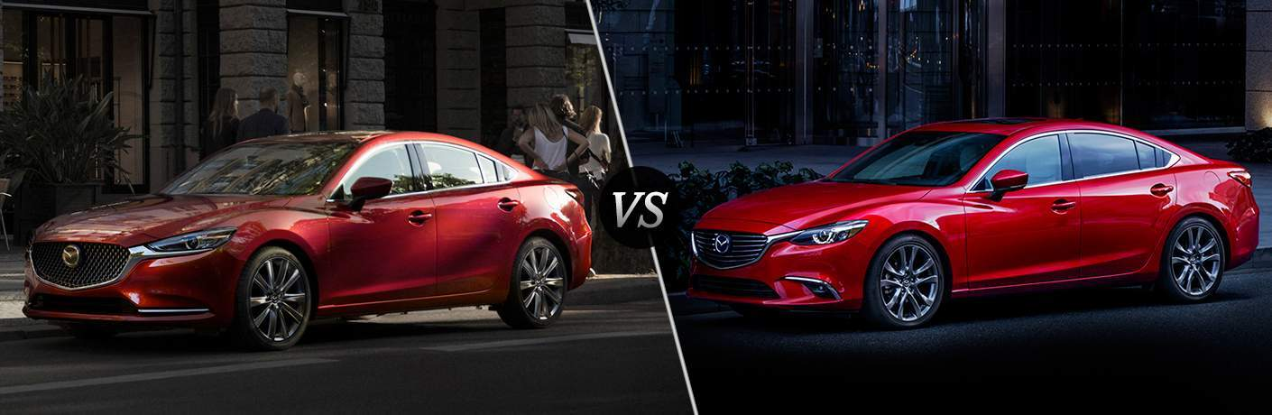 Red 2018 Mazda6 On City Street At Night Vs Red 2017 Mazda6 Parked On Street